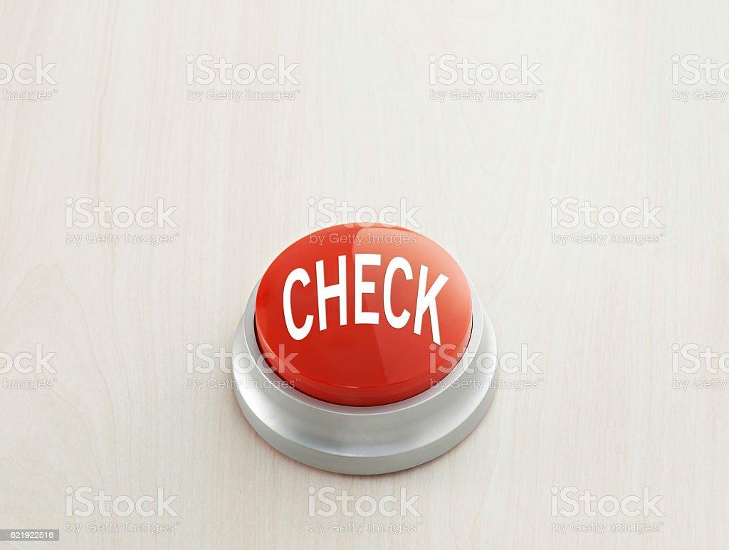 'check' push button stock photo
