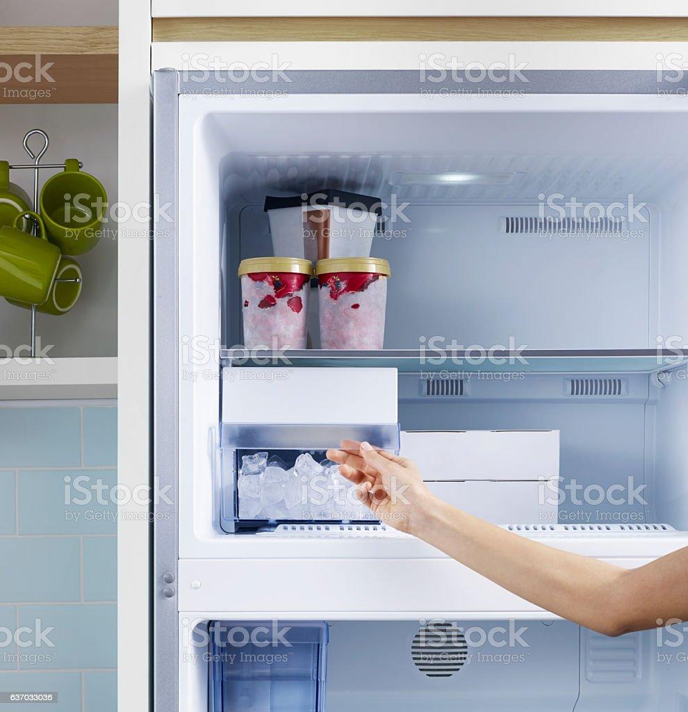 Check the refrigerator ice stock photo