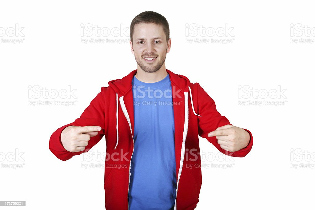 Check this out. Male pointing. royalty-free stock photo