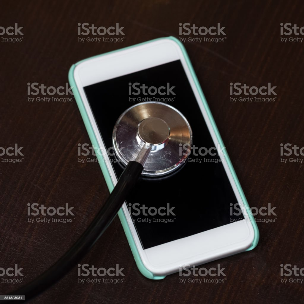 Check up for a mobile phone using a medical stethoscope