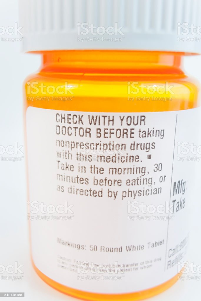 Check With Your Doctor Pill Medication Warning stock photo