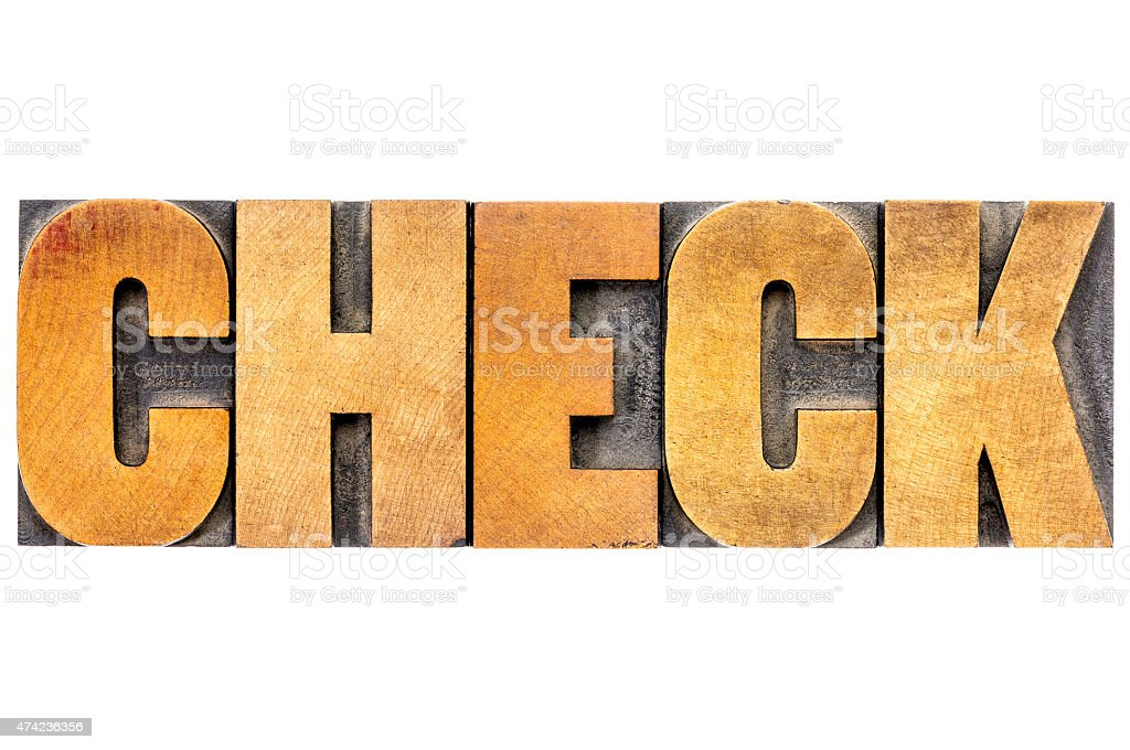 check word typography in wood type stock photo