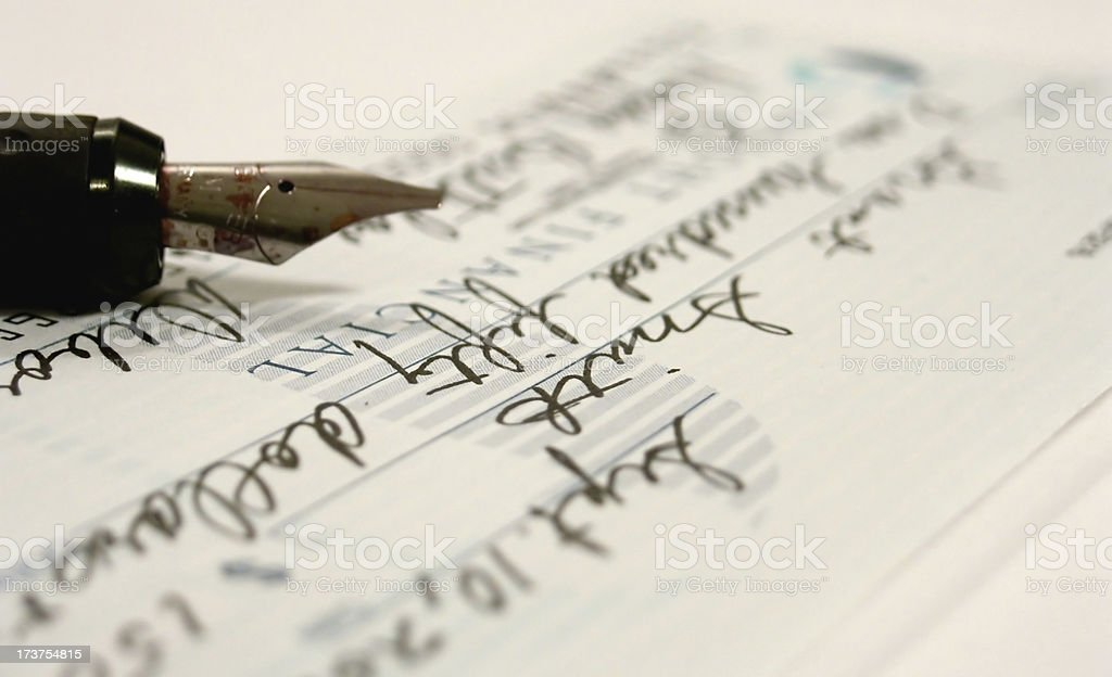 Check Writing stock photo