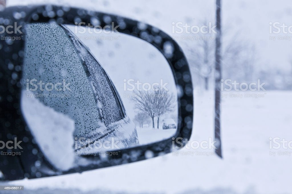 Check your mirrors, it's winter again royalty-free stock photo