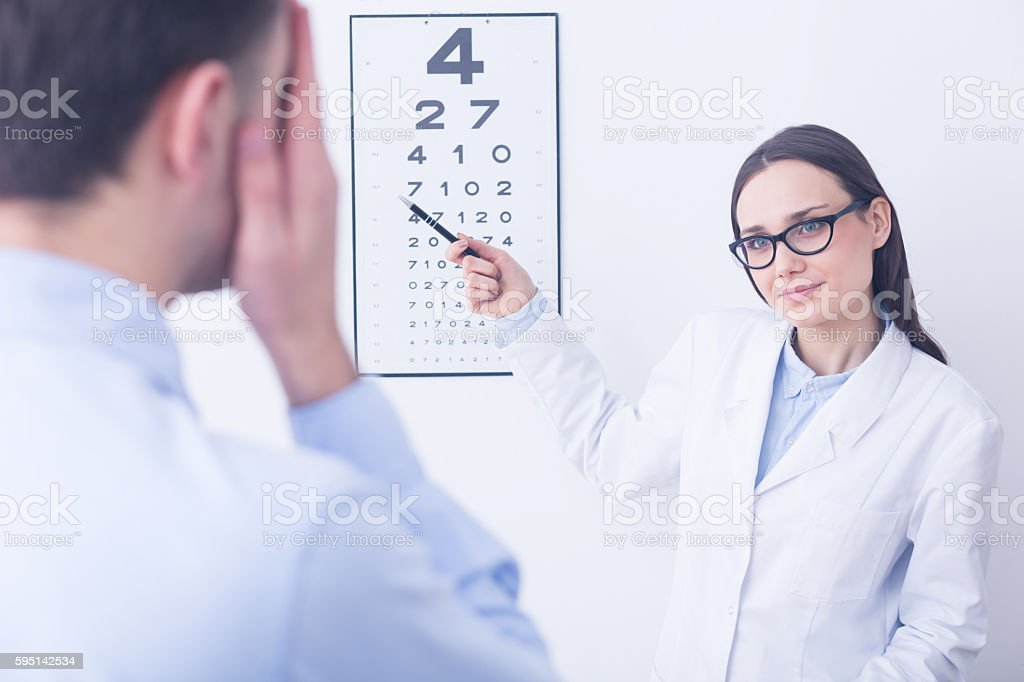 Check your vision at doctor's stock photo