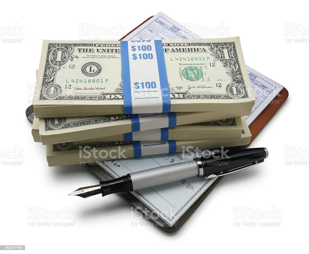 Checkbook & Cash royalty-free stock photo