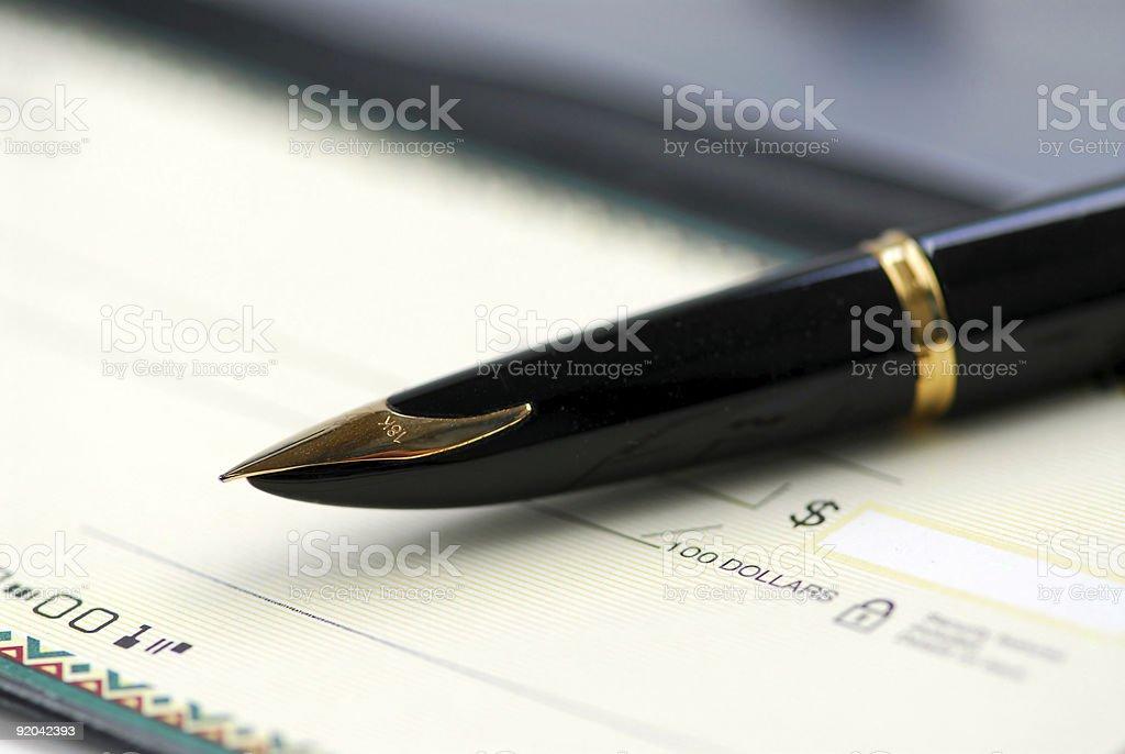 Checkbook pen royalty-free stock photo