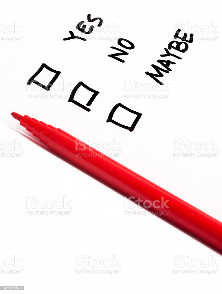 Checkbox Choices Yes No Maybe royalty-free stock photo