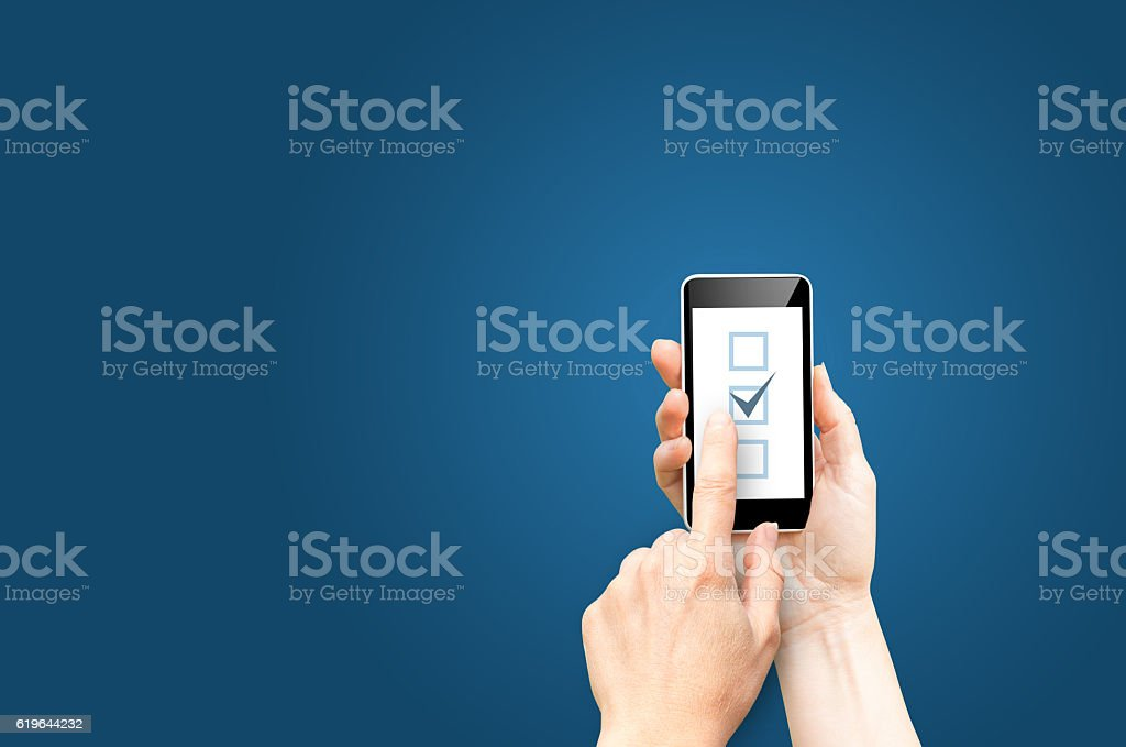 Checkboxes on phone screen stock photo