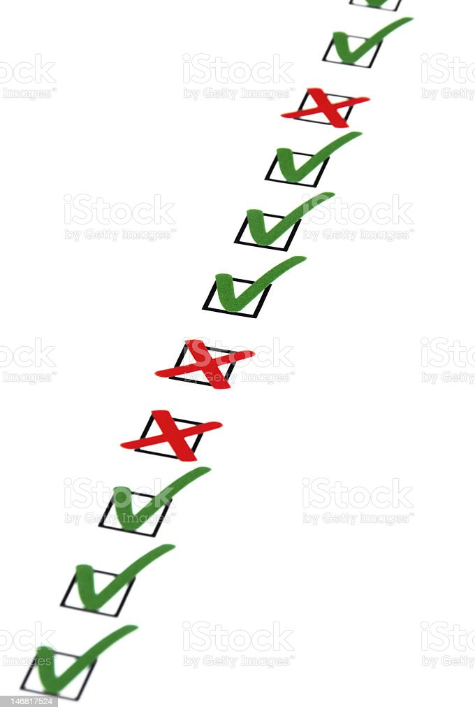 Checkboxes with hooks and crosses royalty-free stock photo