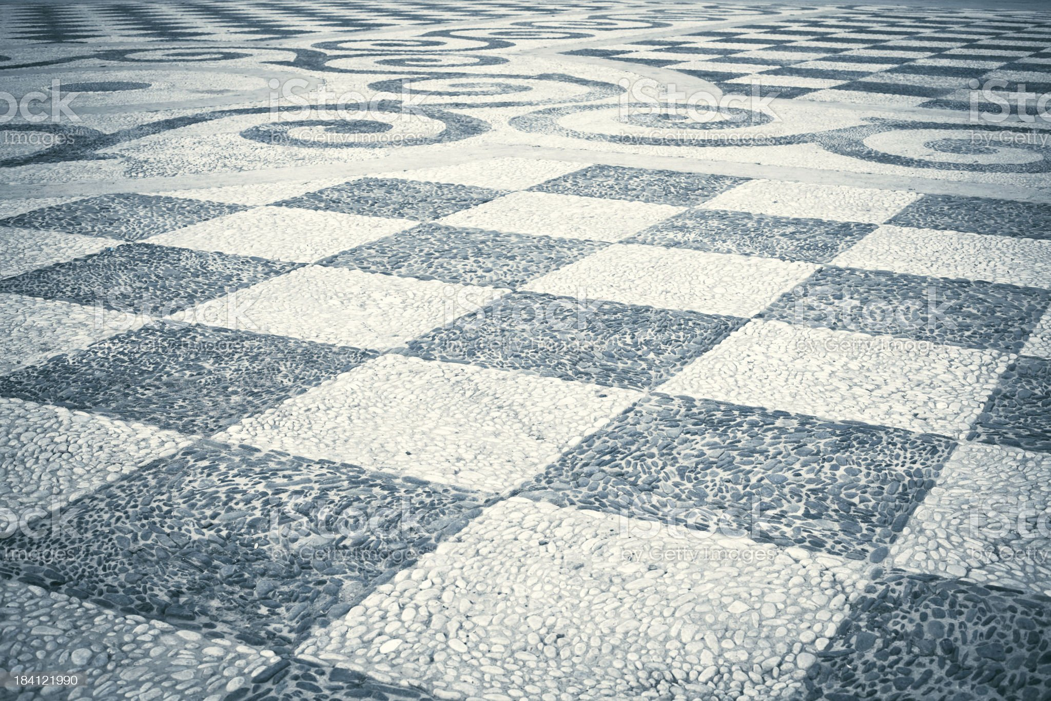 Checked Paving Stone in City Square, Seville royalty-free stock photo