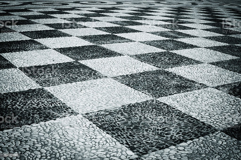 Checked Paving Stone in Seville, Spain stock photo