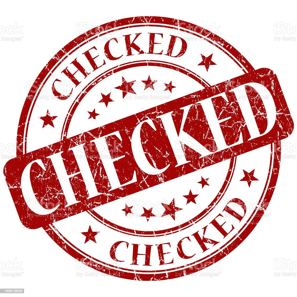 checked red round stamp royalty-free stock photo