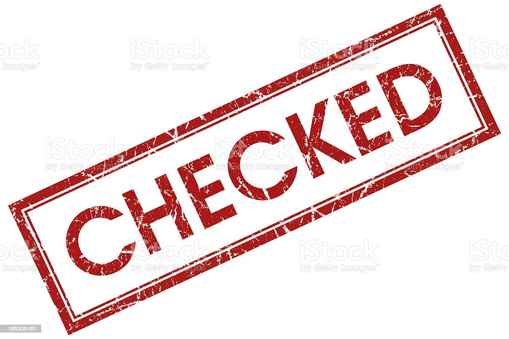 checked red square stamp royalty-free stock photo