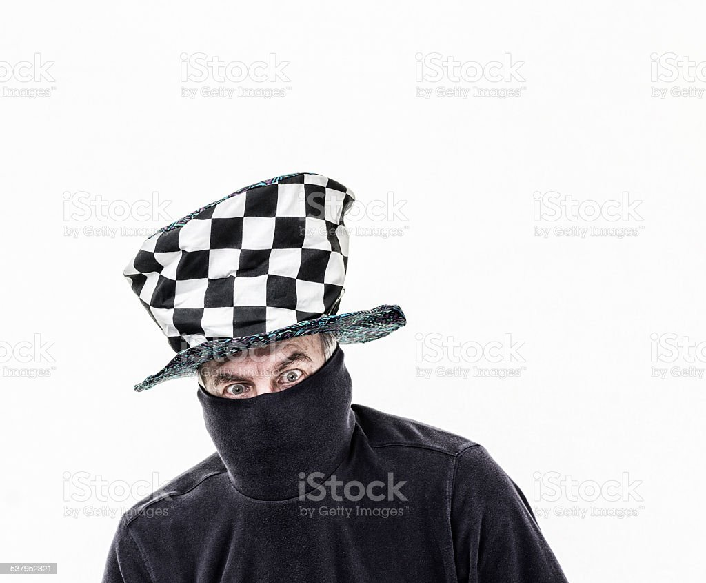 Checkerboard Clown Top Hat Disguised Senior Adult Man stock photo