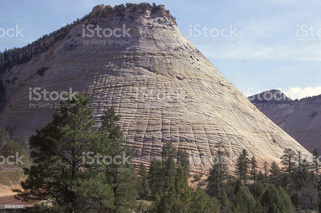 Checkerboard Mesa and Navajo Sandstone Monolith Zion National Park Utah stock photo