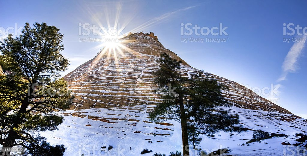 Checkerboard Mesa of Zion National Park in winter stock photo