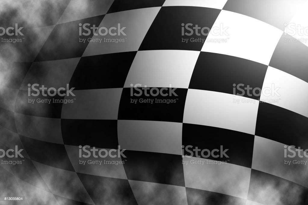 Checkered black and white flag, Sports race. stock photo