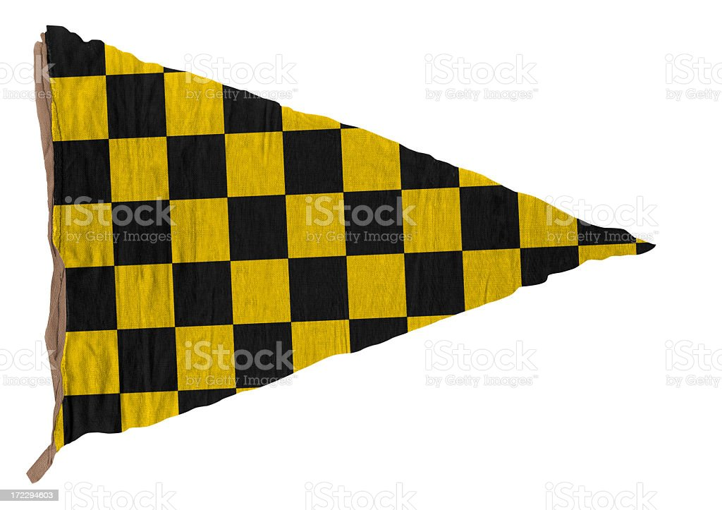 Checkered black and yellow pennant royalty-free stock photo