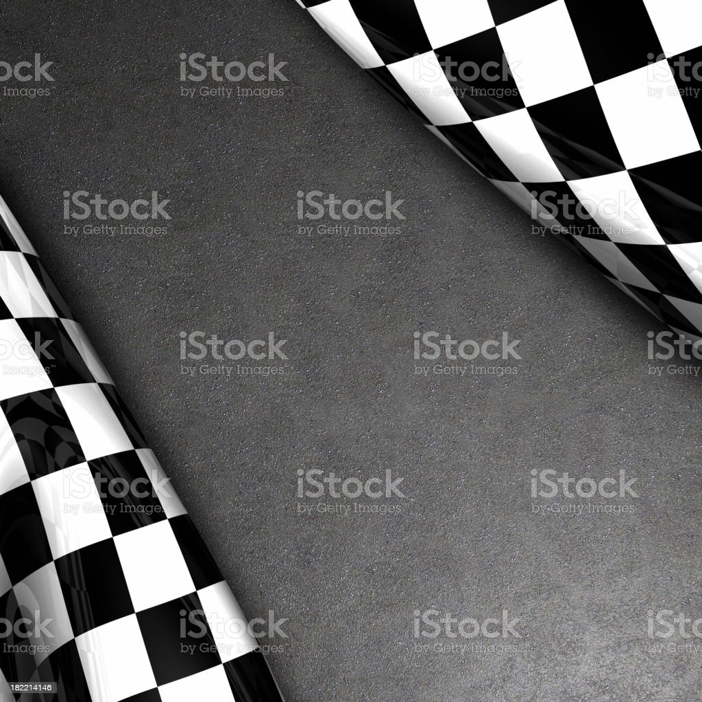 Checkered flag and asphalt royalty-free stock photo
