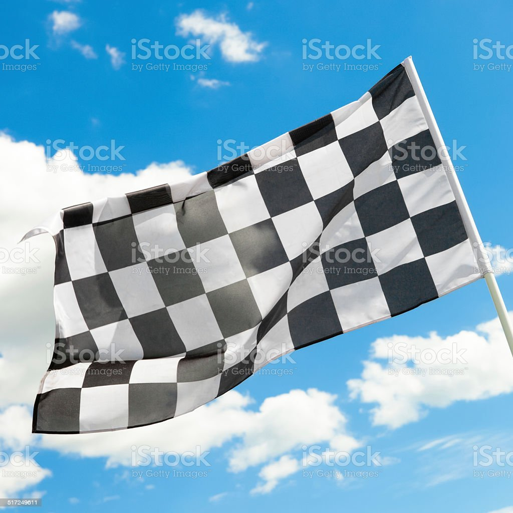 Checkered flag on the wind - 1 to 1 ratio stock photo
