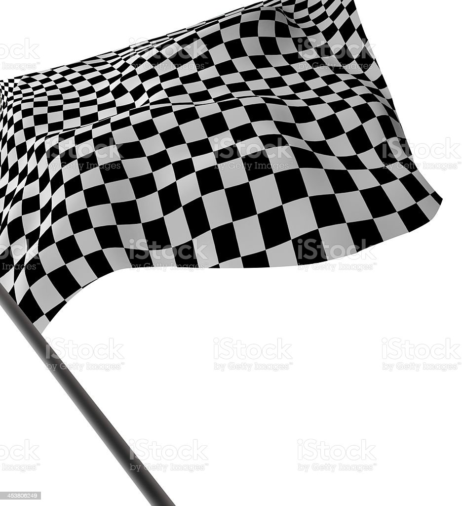 Checkered flag waving against white background stock photo