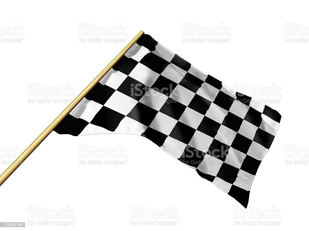 Checkered flag with path royalty-free stock photo