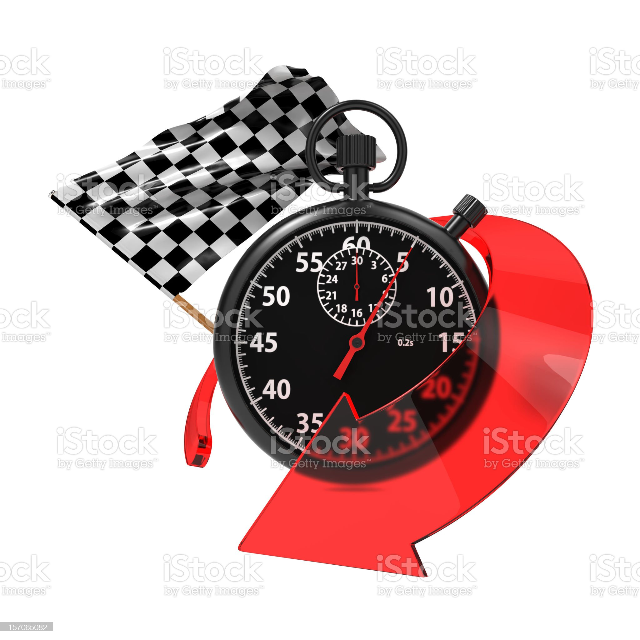 Checkered Flag with Stopwatch and Arrow. royalty-free stock photo
