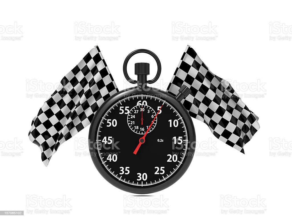 Checkered flag with Stopwatch. royalty-free stock photo