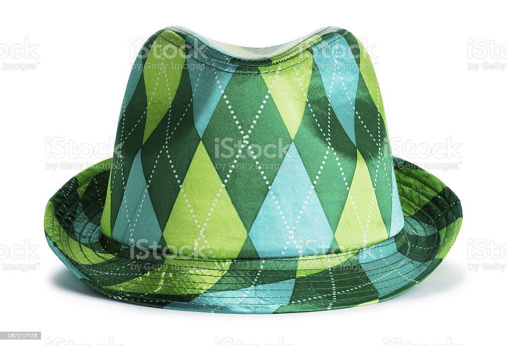 Checkered Green Hat Isolated on White royalty-free stock photo