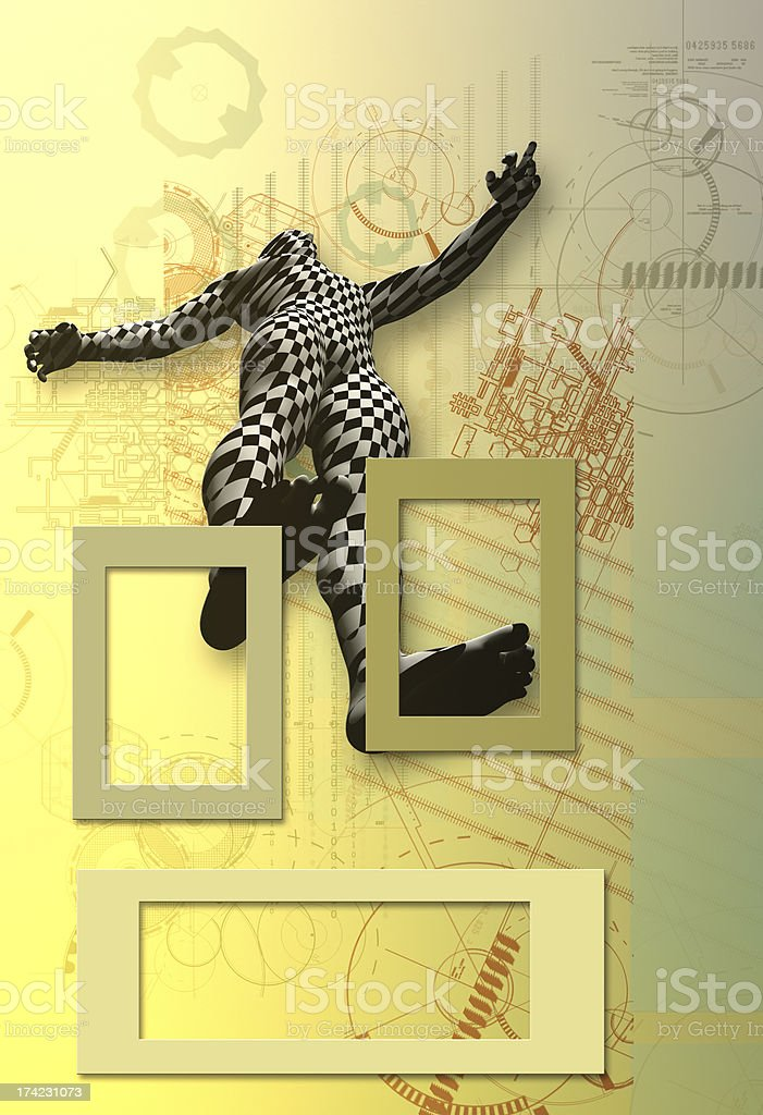 Checkered man on abstract drawing royalty-free stock photo