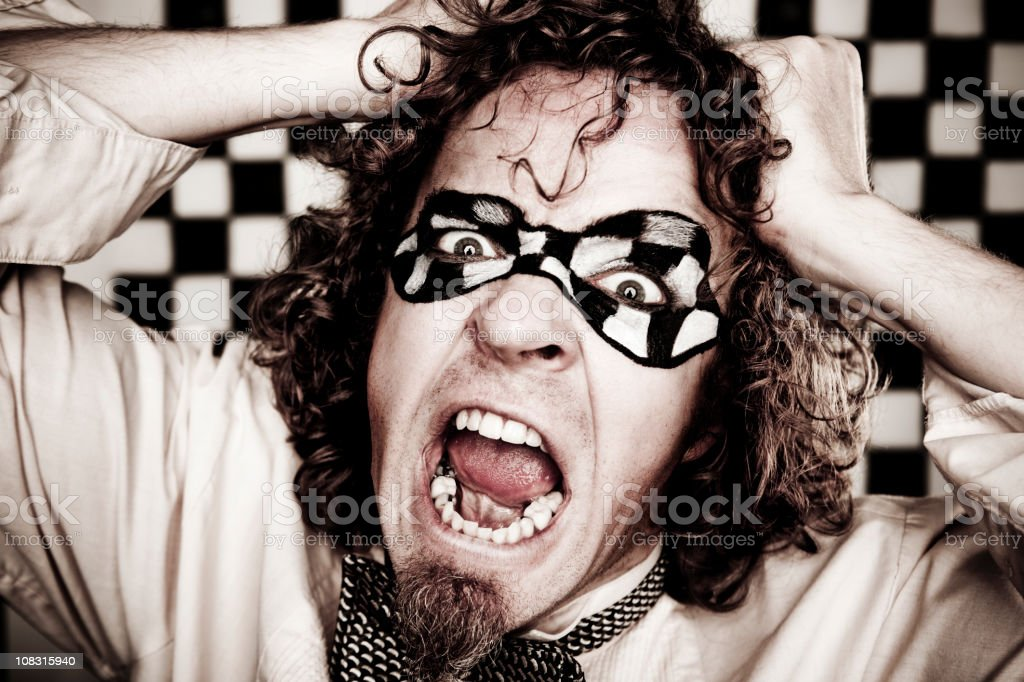 Checkered Man Series: Frustration royalty-free stock photo