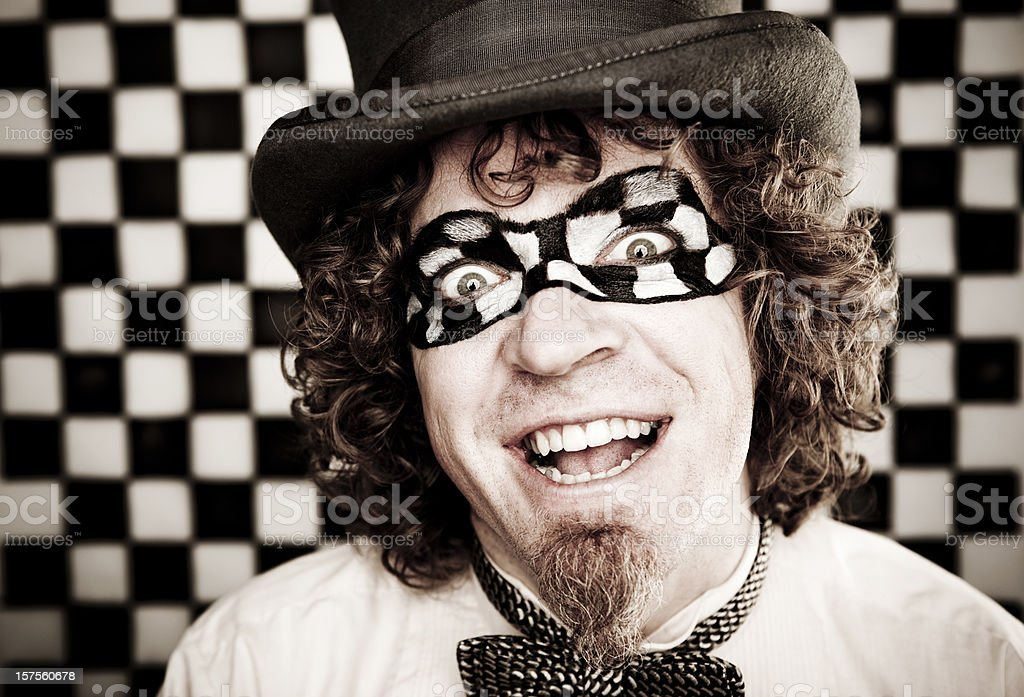 Checkered Man Series: Happy royalty-free stock photo