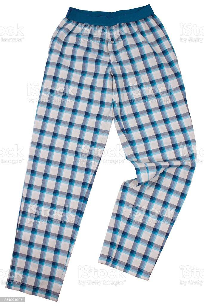 Checkered pijama sweatpants isolated on white stock photo