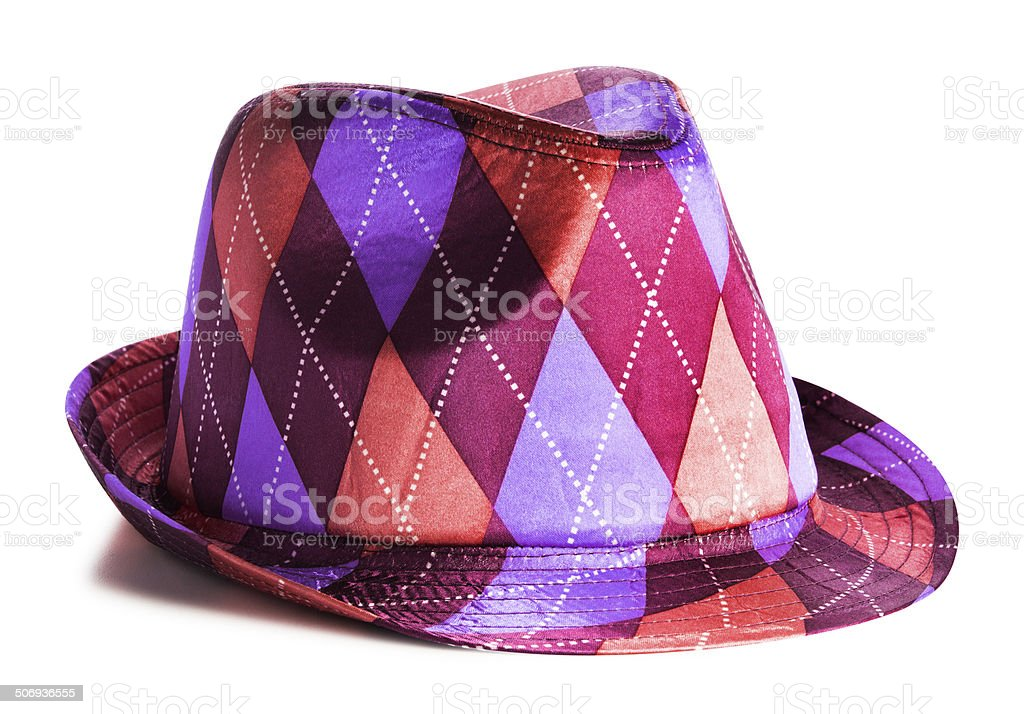 Checkered Purple and Magenta Hat Isolated on White stock photo