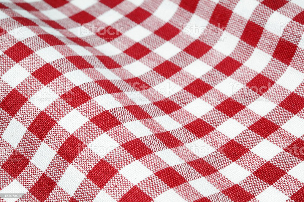 Checkered red and white tablecloth royalty-free stock photo
