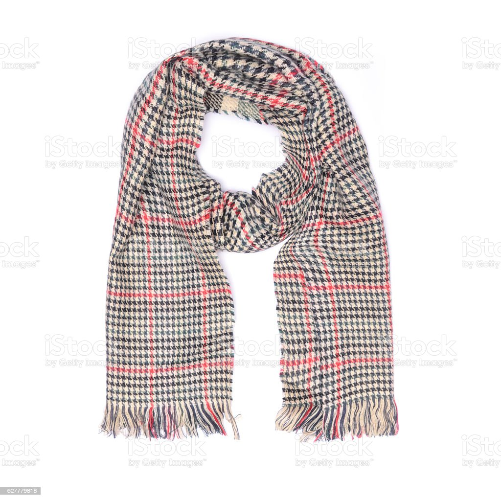checkered scarf isolated on whit stock photo