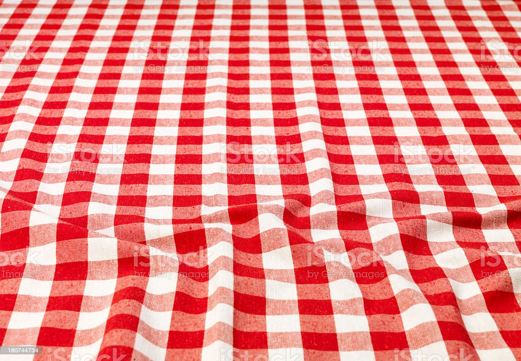 Checkered tablecloth a little crumpled stock photo