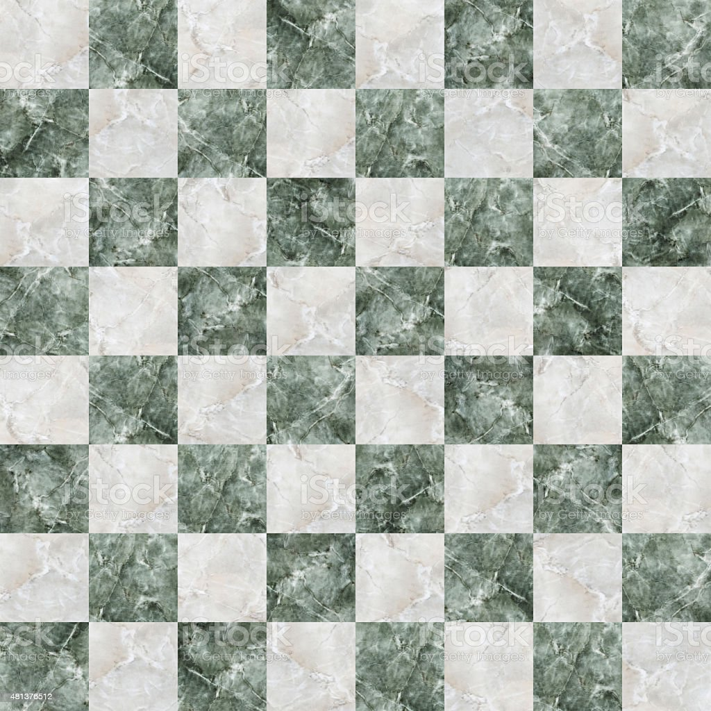 checkered tiles seamless with green and white marble effect stock photo