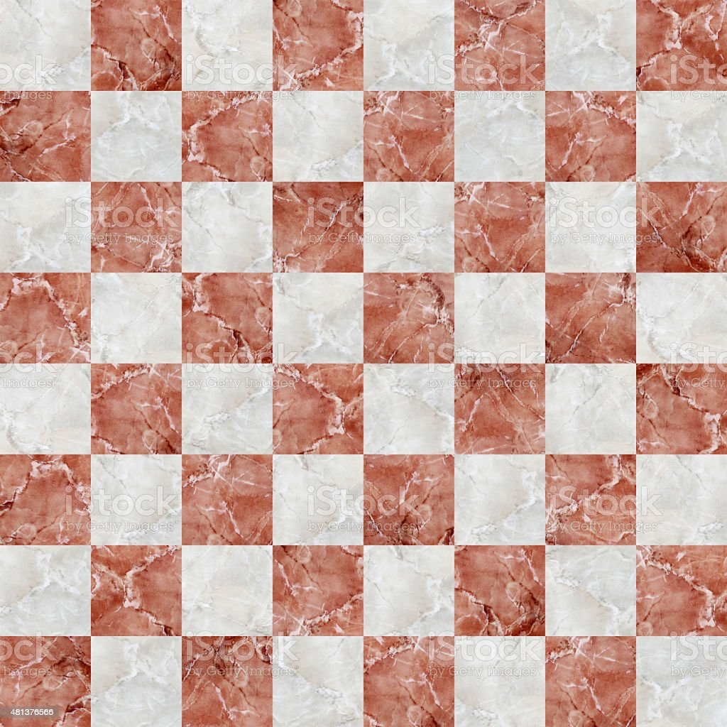 checkered tiles seamless with red and white marble effect stock photo