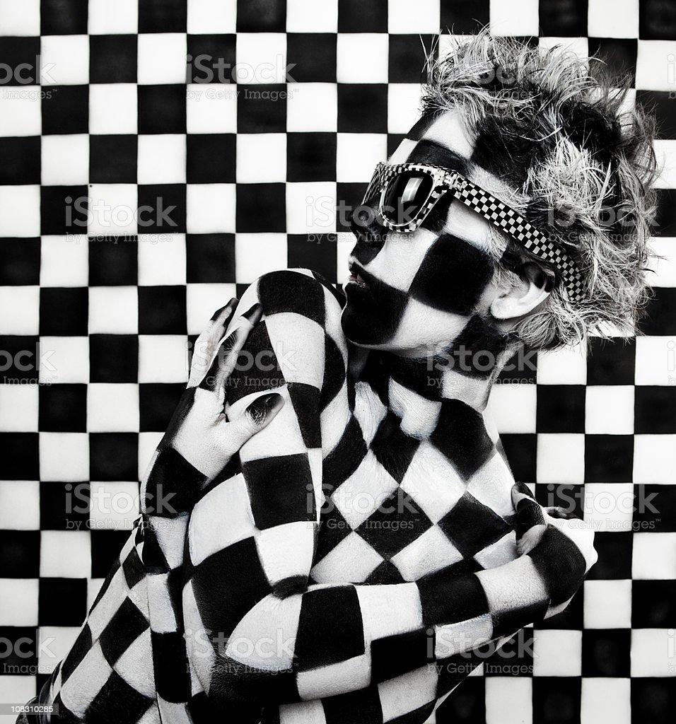 Checkered Woman: Art Body Paint Photo stock photo