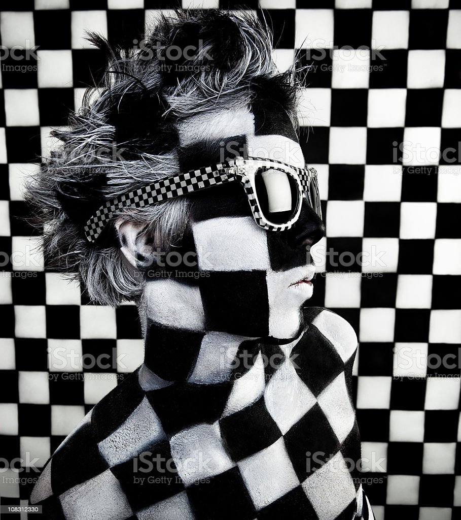 Checkered Woman royalty-free stock photo