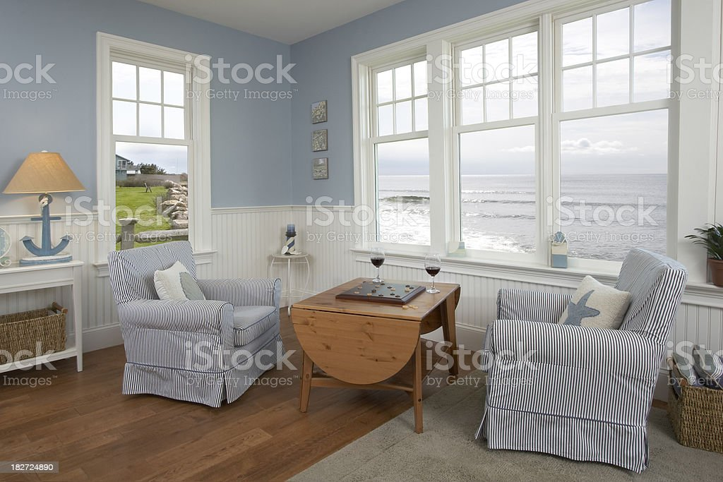 Checkers and wine by the sea stock photo
