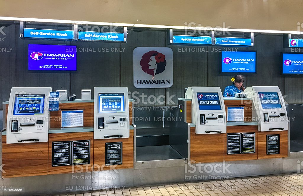Check-in at Kahului Airport, Maui, Hawaii, USA stock photo