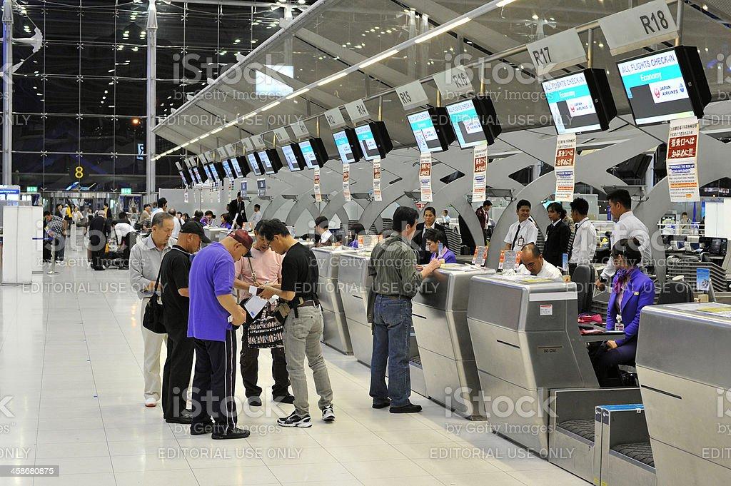 Check-in Counters at Bangkok International Airport stock photo