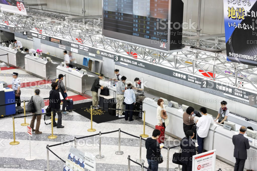 JAL check-in desk at New Chitose Airport in Sapporo stock photo