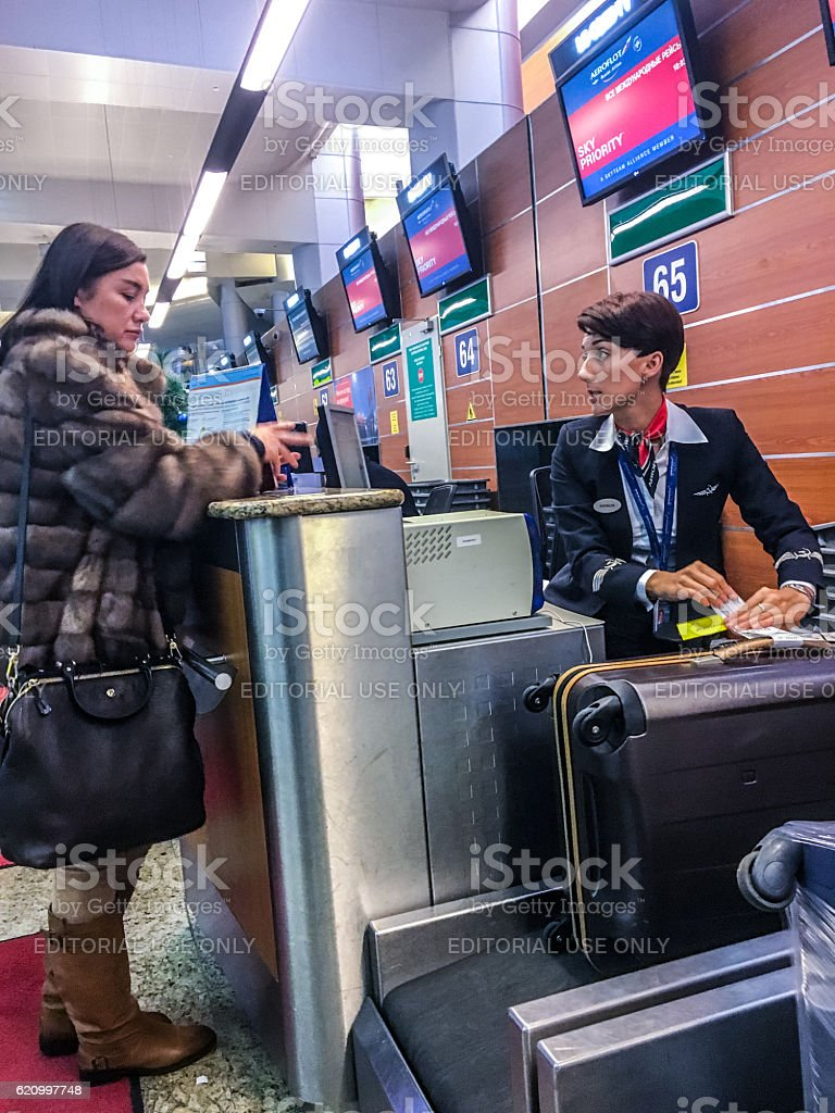 Check-in for flight at Moscow Sheremetyevo Airport, Russia stock photo
