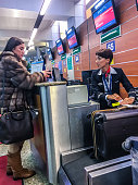 Check-in for flight at Moscow Sheremetyevo Airport, Russia