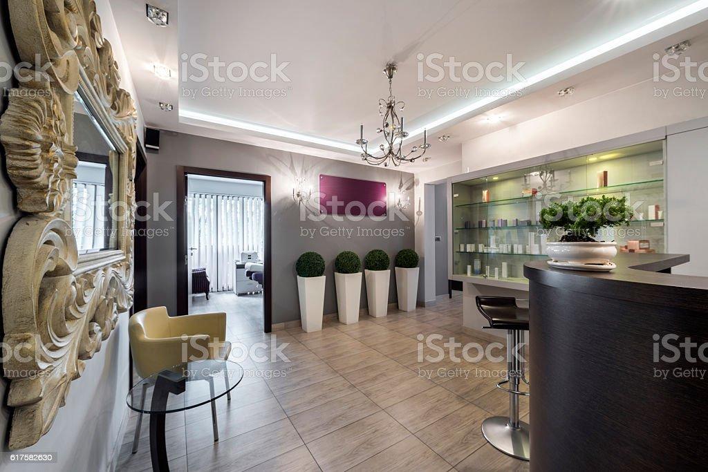 Check-in in elegant modern clinic stock photo