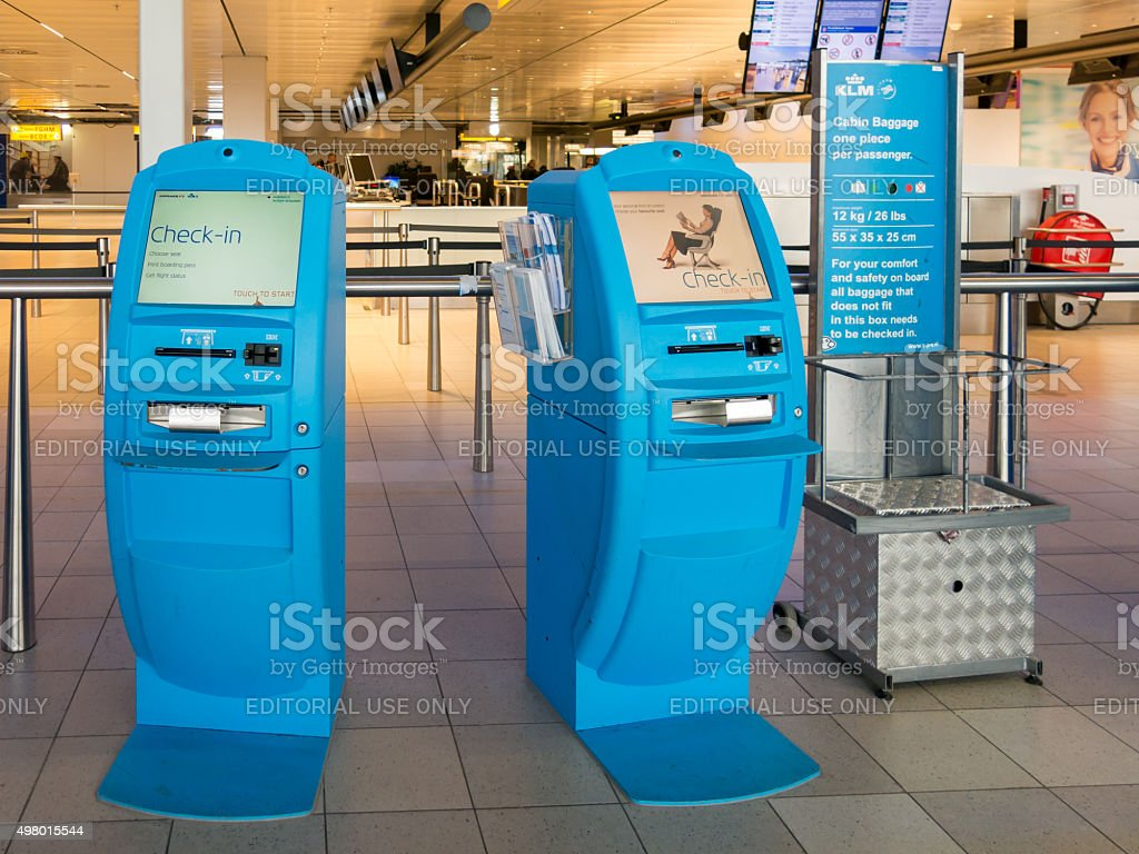 KLM check-in Schiphol Amsterdam Airport, Holland stock photo